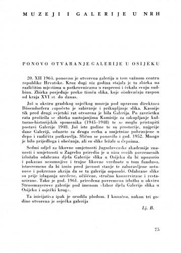 Ponovo otvaranje galerije u Osijeku : Bulletin Zavoda za likovne umjetnosti Jugoslavenske akademije znanosti i umjetnosti