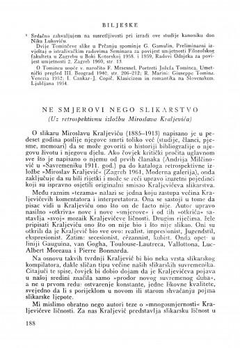 Ne smjerovi nego slikarstvo (Uz  retrospektivnu izložbu M. Kraljevića) : Bulletin Zavoda za likovne umjetnosti Jugoslavenske akademije znanosti i umjetnosti