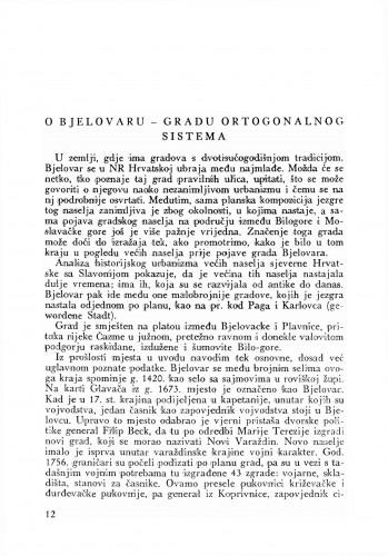 O Bjelovaru gradu ortogonalnog sistema : Bulletin Odjela VII. za likovne umjetnosti Jugoslavenske akademije znanosti i umjetnosti