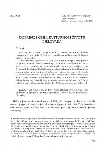 Doprinos Čeha kulturnom životu Bjelovara : Radovi Zavoda za znanstvenoistraživački i umjetnički rad u Bjelovaru