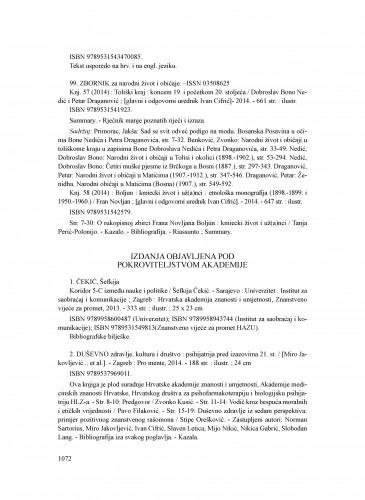 Izdanja objavljena pod pokroviteljstvom Akademije : Ljetopis