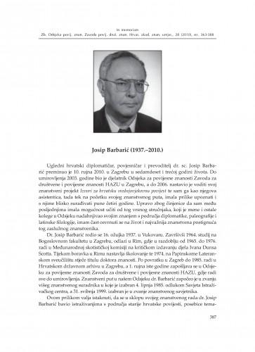 Josip Barbarić (1937.-2010.) : [in memoriam] : Zbornik Odsjeka za povijesne znanosti Zavoda za povijesne i društvene znanosti Hrvatske akademije znanosti i umjetnosti