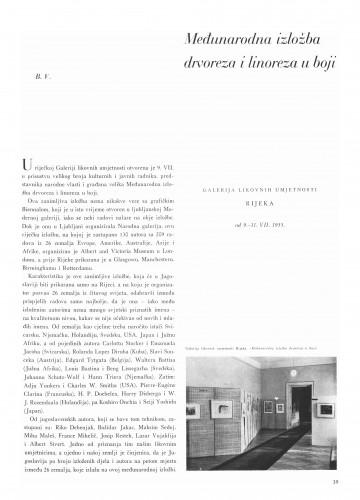 Međunarodna izložba drvoreza i linoreza u boji : Bulletin Instituta za likovne umjetnosti Jugoslavenske akademije znanosti i umjetnosti