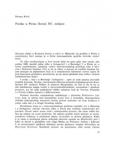 Freske u Pećnu (Istra) XV. stoljeće : Bulletin Razreda za likovne umjetnosti Hrvatske akademije znanosti i umjetnosti