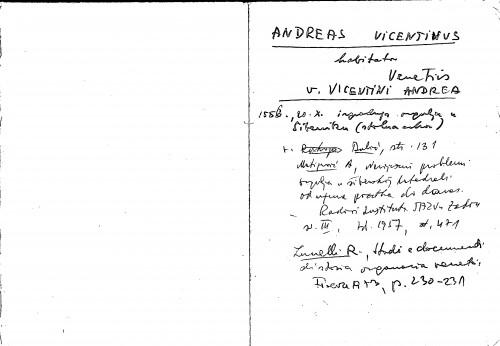 Andreas Vicentinus habitator Venetiis