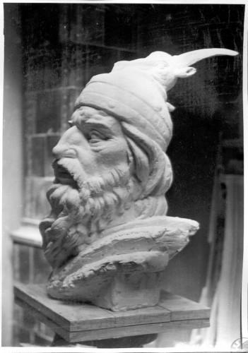 Radauš, Vanja (1906-1975) : Skica za spomenik Skender-begu u Tirani - glava