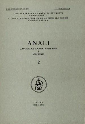 Knj. 2(1982/1983) : Anali Zavoda za znanstveni i umjetnički rad u Osijeku