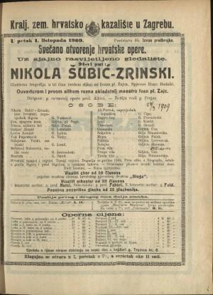Nikola Šubić-Zrinski Glazbena tragedija u tri čina (sedam slika)