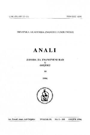 Sv. 10 (1994) : Anali Zavoda za znanstveni i umjetnički rad u Osijeku