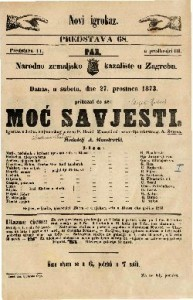 Moć savjesti Igrokaz u 3 čina / s njemačkog preveo P. Brani / Zborovi od ravnatelja orkestra g. A. Švarca