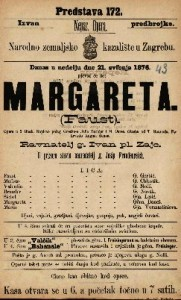 Margareta (Faust) opera u 5 činah / Glasba od T. Gounoda.