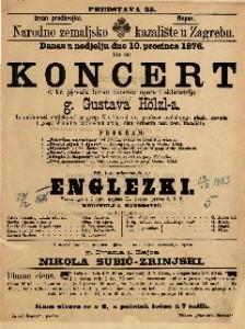 Koncert c. kr. pjevača bečke dvorske opere i skladatelja g. Gustava Hölzl-a
