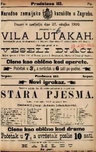 Vila lutakah ; Veseli djaci ; Stara pjesma : Pantomimički plesni deviertissement u 1 činu: Šaljiva opereta u 1 činu: Igrokaz u 3 čina / glasba od I. Bayer-a