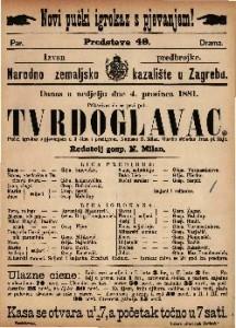 Tvrdoglavac pučki igrokaz s pjevanjem u 3 čina i predigrom / Napisao N. Milan