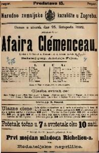Affaire Clemenceau Igrokaz u 5 čina / od A. Dumasa i A. d. Artisa