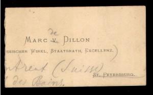 Marc V. Dillon [...?]ssischer wirkl. Staatsrath Excellenz.