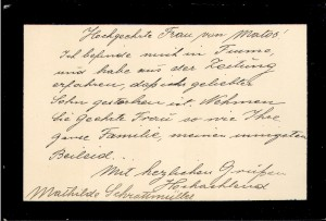 Pismo sućuti Mathilde Schrottmüller Matoševoj majci