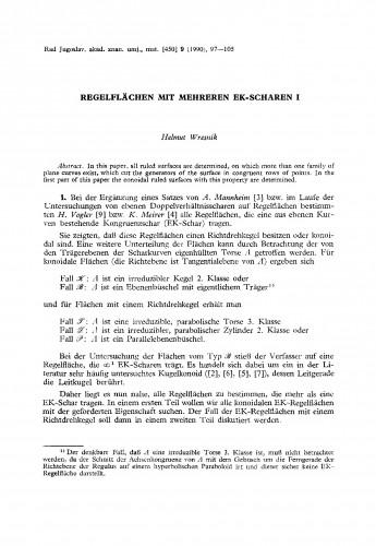 Regelflächen mit mehreren EK-Scharen I