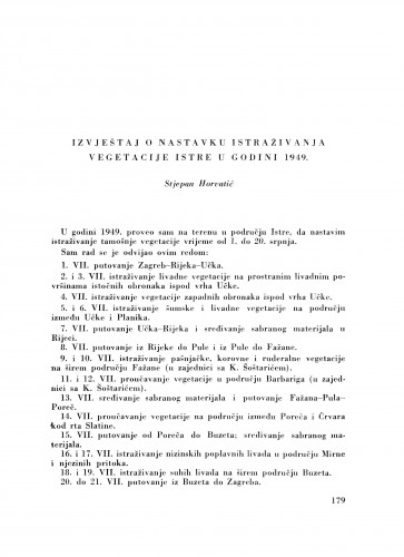 Izvještaj o nastavku istraživanja vegetacije Istre u godini 1949. / S. Horvatić
