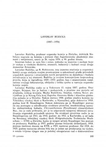 Lavoslav Ružička (1887-1976) : [nekrolozi] / K. Balenović