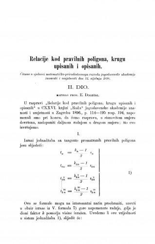 Relacije kod pravilnih poligona, krugu upisanih i opisanih