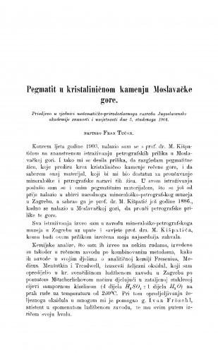 Pegmatit u kristaliničnom kamenju Moslavačke gore