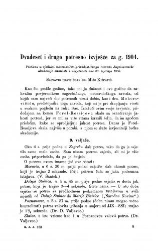 Dvadeset i drugo potresno izvješće za g. 1904.