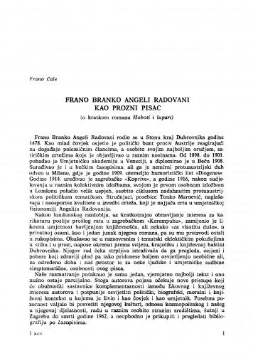 Frano Branko Angeli Radovani kao prozni pisac