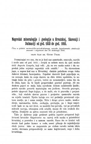 Napredak mineralogije i geologije u Hrvatskoj, Slavoniji i Dalmaciji od god. 1835 do god. 1885. : RAD