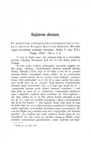 De mutatione contiguarum consonantium in linguis slavicis. Scripsit Martinus Hattala. (Ex actis regiae scientiarum societatis bohemicae. Series V., tom XIV.) Pragae 1865 : [književna obznana] : RAD