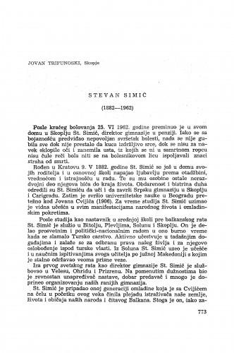 Steven Simić (1882-1962) / J. Trifunoski
