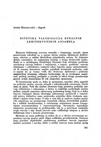 Estetska valorizacija ruralnih arhitektonskih ansambala / A. Mohorovičić