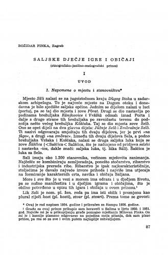 Saljske dječje igre i običaji : (etnografsko-jezično-melografski prinos) / B. Finka