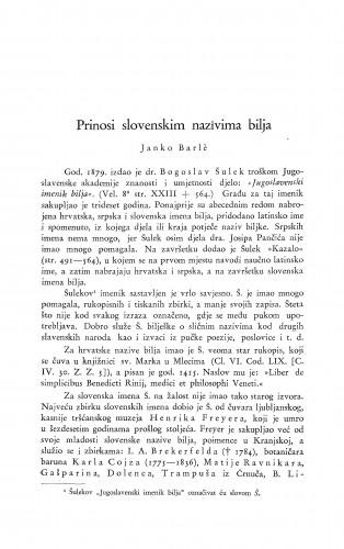 Prinosi slovenskim nazivima bilja / J. Barle