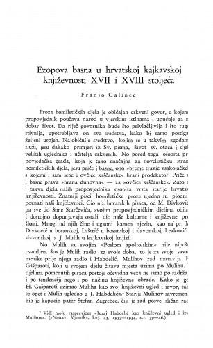 Ezopova basna u hrvatskoj kajkavskoj književnosti XVII i XVIII stoljeća / F. Galinec
