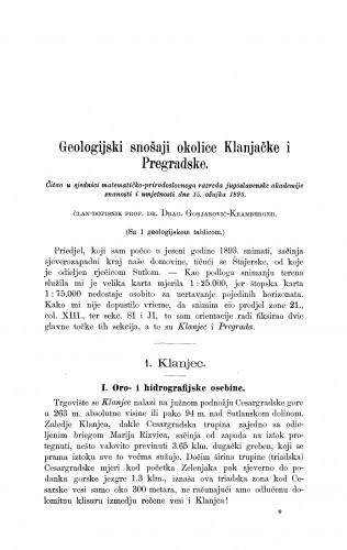 Geologijski snošaji okolice Klanjačke i Pregradske