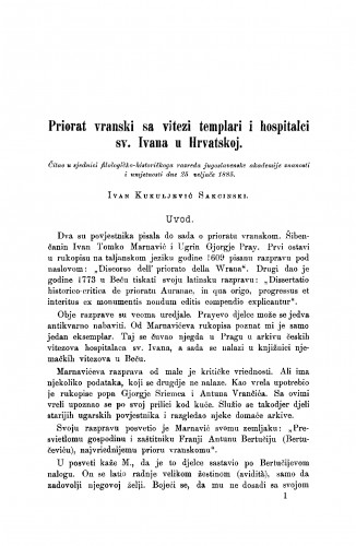 Priorat vranski sa vitezi templari i hospitalci sv. Ivana u Hrvatskoj