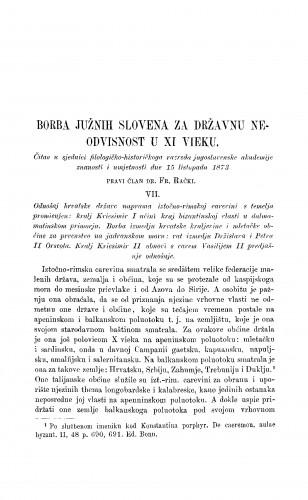 Borba Južnih Slovena za državnu neodvisnost u XI vieku : RAD