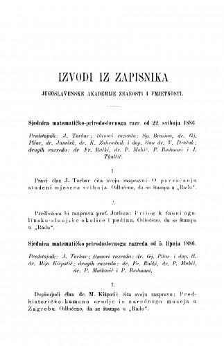 Izvodi iz zapisnika Jugoslavenske akademije znanosti i umjetnosti [1886.]