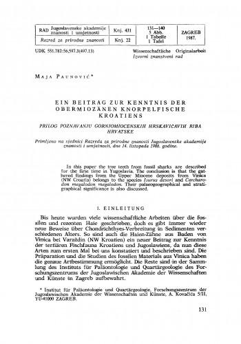 Ein Beitrag zur Kenntnis der obermiozänen Knorpelfische Kroatiens