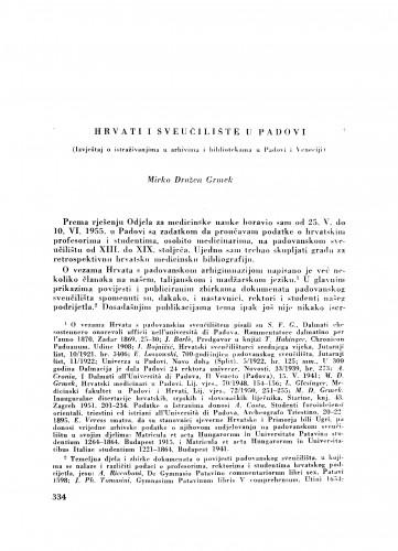 Hrvati i Sveučilište u Padovi / M. D. Grmek