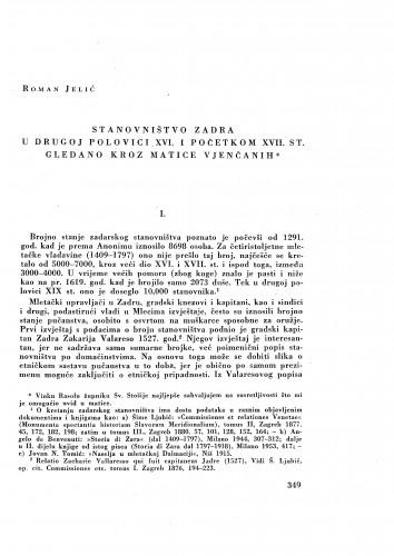 Stanovništvo Zadra u drugoj polovici XVI i početkom XVII stoljeća gledano kroz matice vjenčanih / Roman Jelić