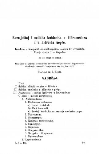 Razmještaj i selidba knidocida u hidromeduza i u hidroida uopće.