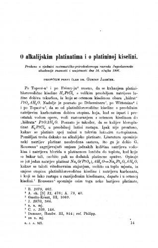 O alkalijskim platinama i o platininoj kiselini