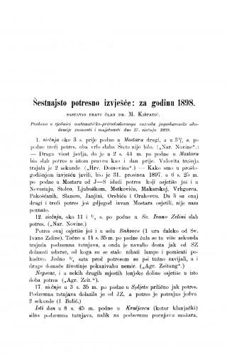 Šesnaesto potresno izvješće: za godinu 1898