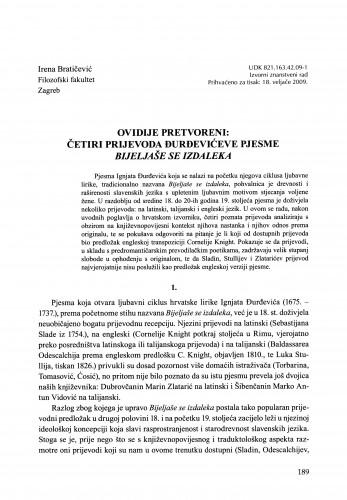 Ovidije Pretvoreni: četiri prijevoda Đurđevićeve pjesme Bijeljaše se izdaleka : [rasprava] : Građa za povijest književnosti hrvatske