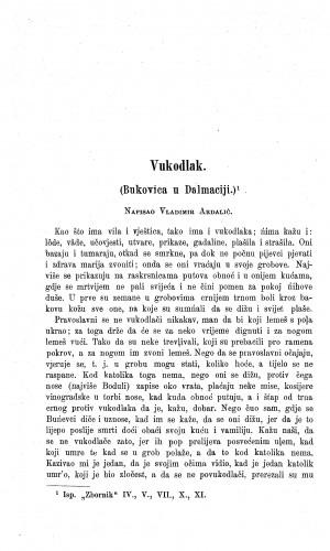 Vukodlak : (Bukovica u Dalmaciji.) / V. Ardalić