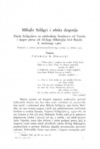 Mihajlo Szilágyi i srbska despotija