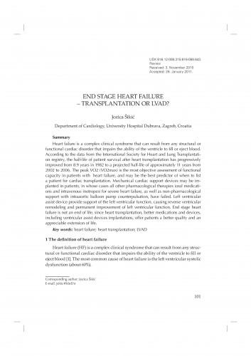 End stage heart failure - transplantation or LVAD?