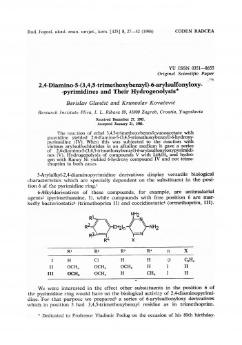 2,4-Diamino-5-(3,4,5-trimethoxybenzyl)-6-arylsulfonyloxypyrimidines and their hydrogenolysis